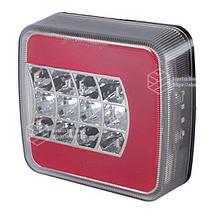Фонарь cветодиодный LED (ЛЕД) задний квадратный универсальный 106 мм х 100 мм х 36 мм 12/24/36 V L   VTR