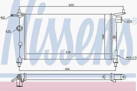 Радиатор охлаждения OPEL COMBO (93-)/CORSA B (93-) | Nissens, фото 2