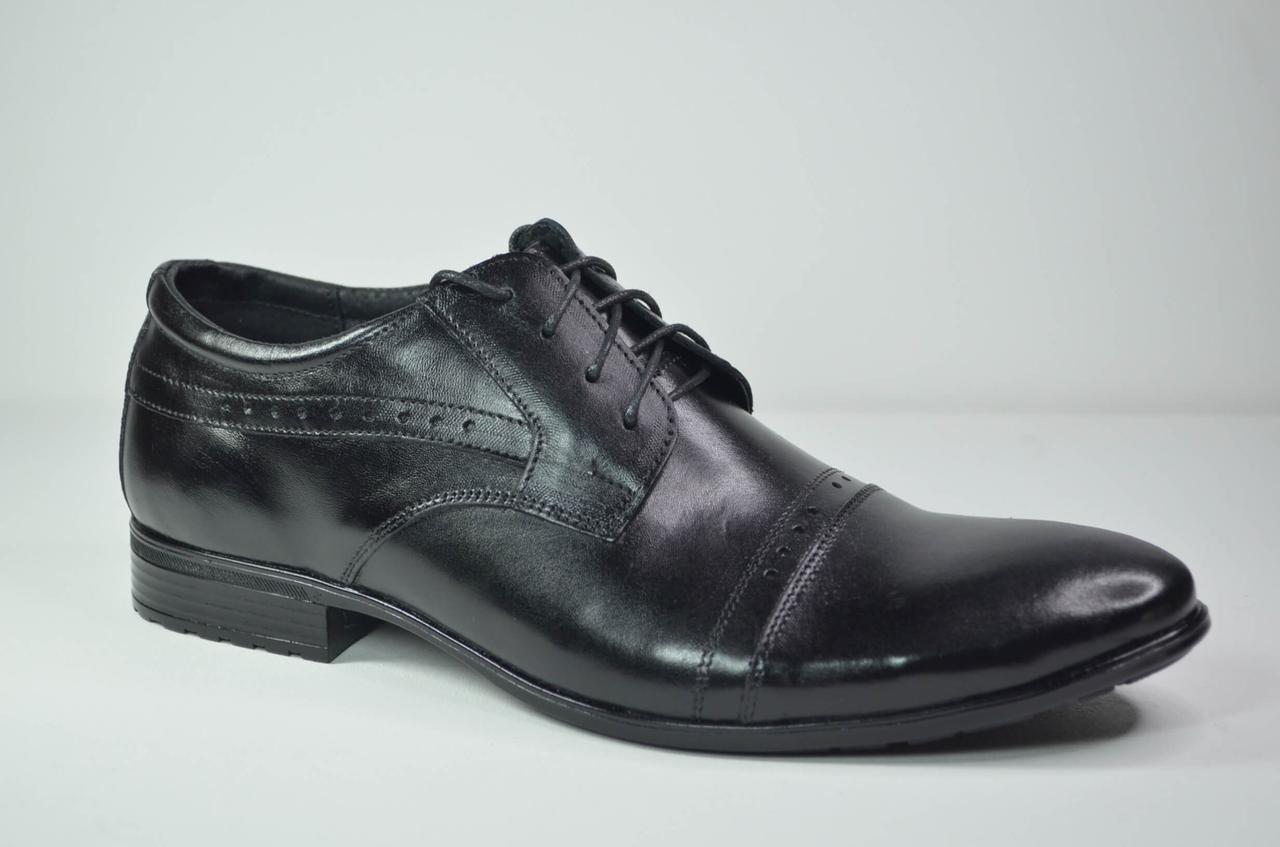 Чоловічі шкіряні туфлі чорні Ava 41