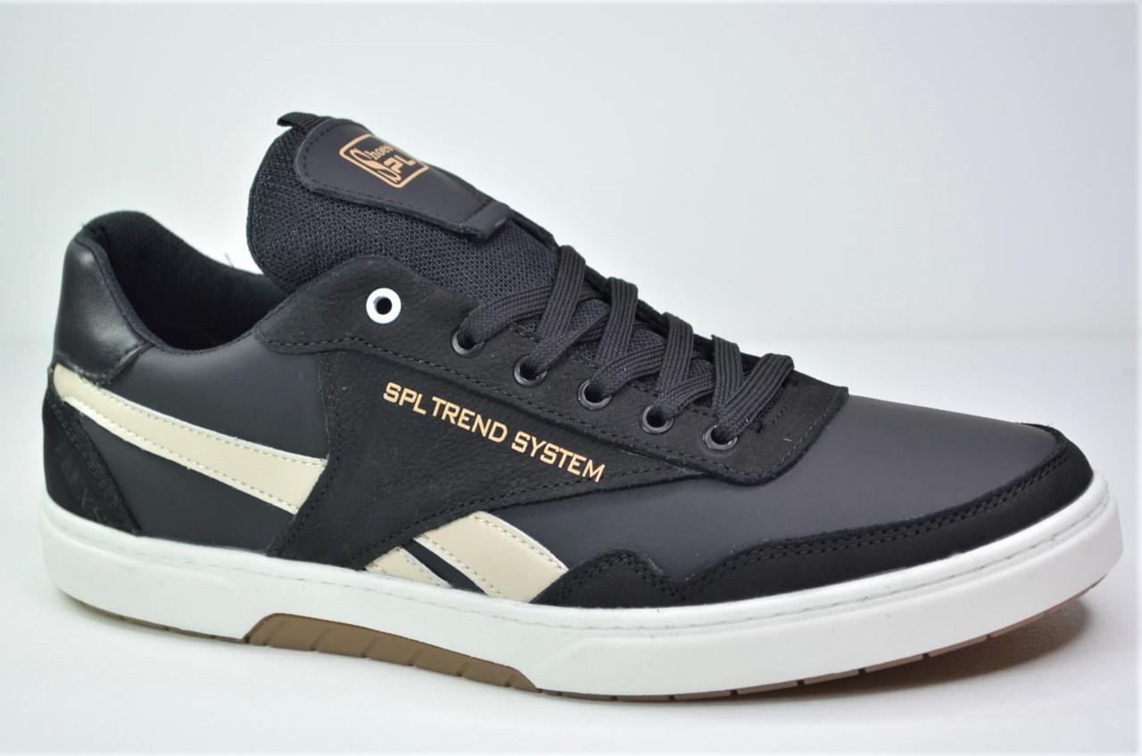 Чоловічі шкіряні кросівки чорні з білим Splinter 1819