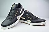 Чоловічі шкіряні кросівки чорні з білим Splinter 1819, фото 2