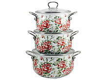 Набор эмалированной посуды Interos Розы золото 3 предмета