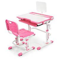Набор Детской Регулируемой Мебели: Парта с выдвижным ящиком, подставкой для книг Стульчик, розовый 70х50х108см