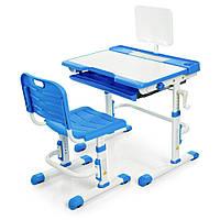 Набор Детской Регулируемой Мебели: Парта с выдвижным ящиком, подставкой для книг, Стульчик, синий, 70х50х108см