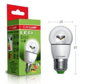 Лампа светодиодная прозрачная LED G45 5W Е27 4000К (яркий свет)