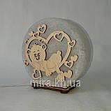 Соляной светильник круглый Мишка в сердце, фото 2