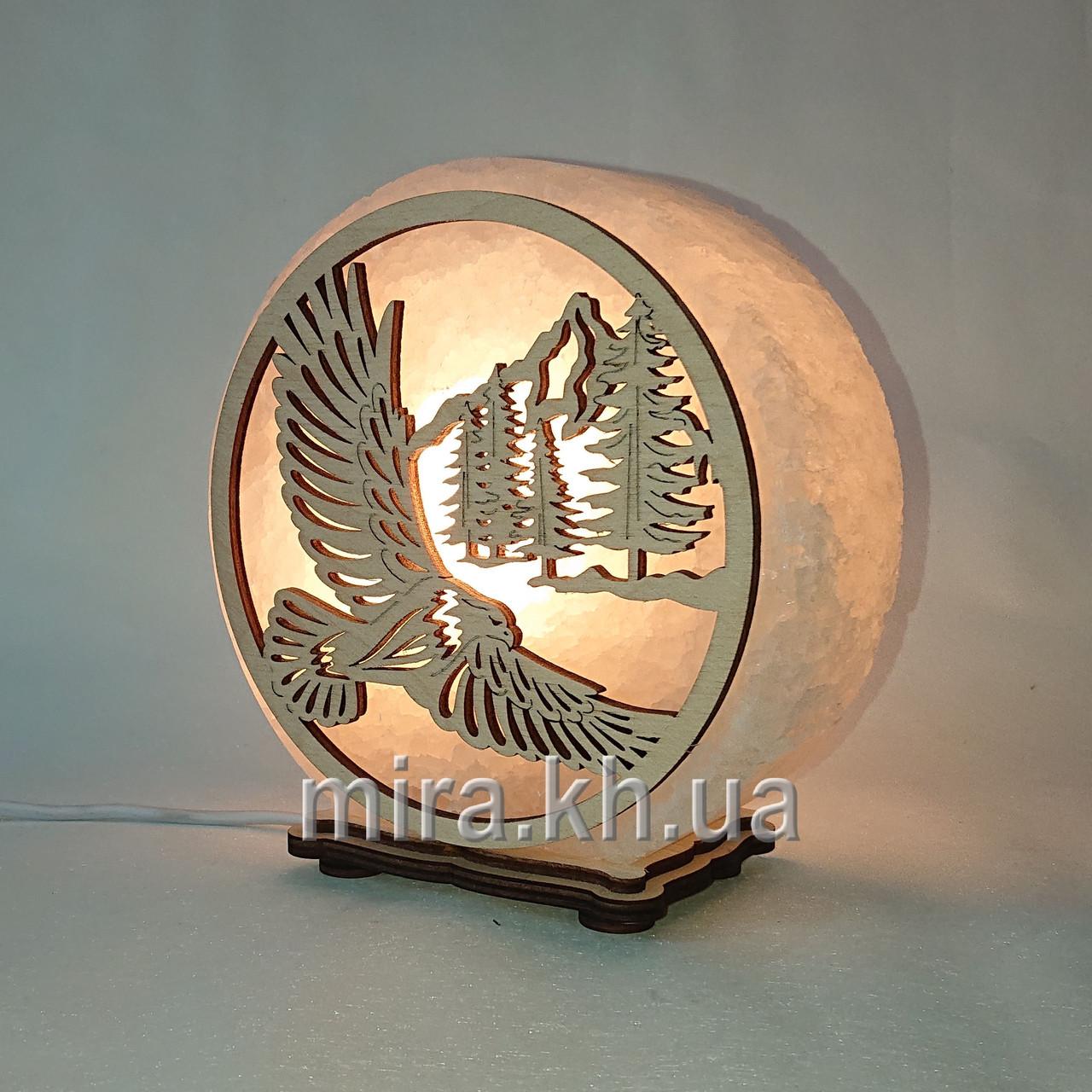 Соляной светильник круглый орел и горы