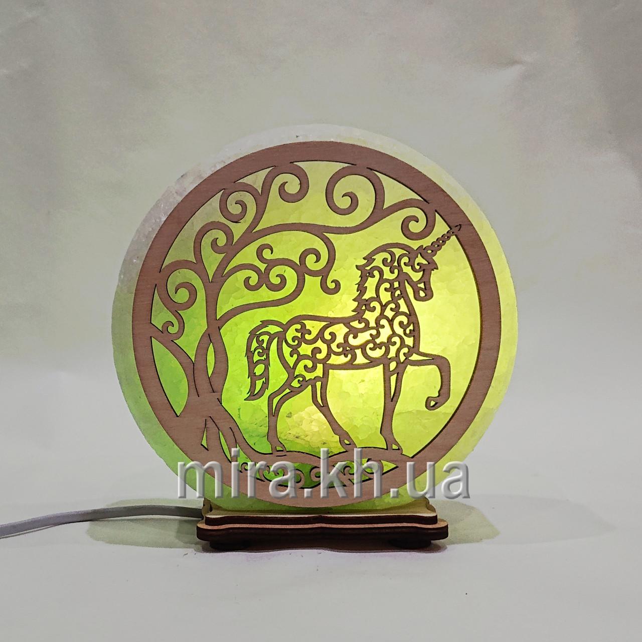 Соляной светильник круглый Единорог зеленый