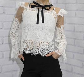 Блузка школьная с длинным рукавом для девочки, кружево с сеткой, внутри топ на тонкой бретеле (размер S/M)