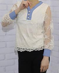 Блузка школьная с длинным рукавом для девочки, кружево с  атласной отделкой, на пуговицах, Rong Rong (размер
