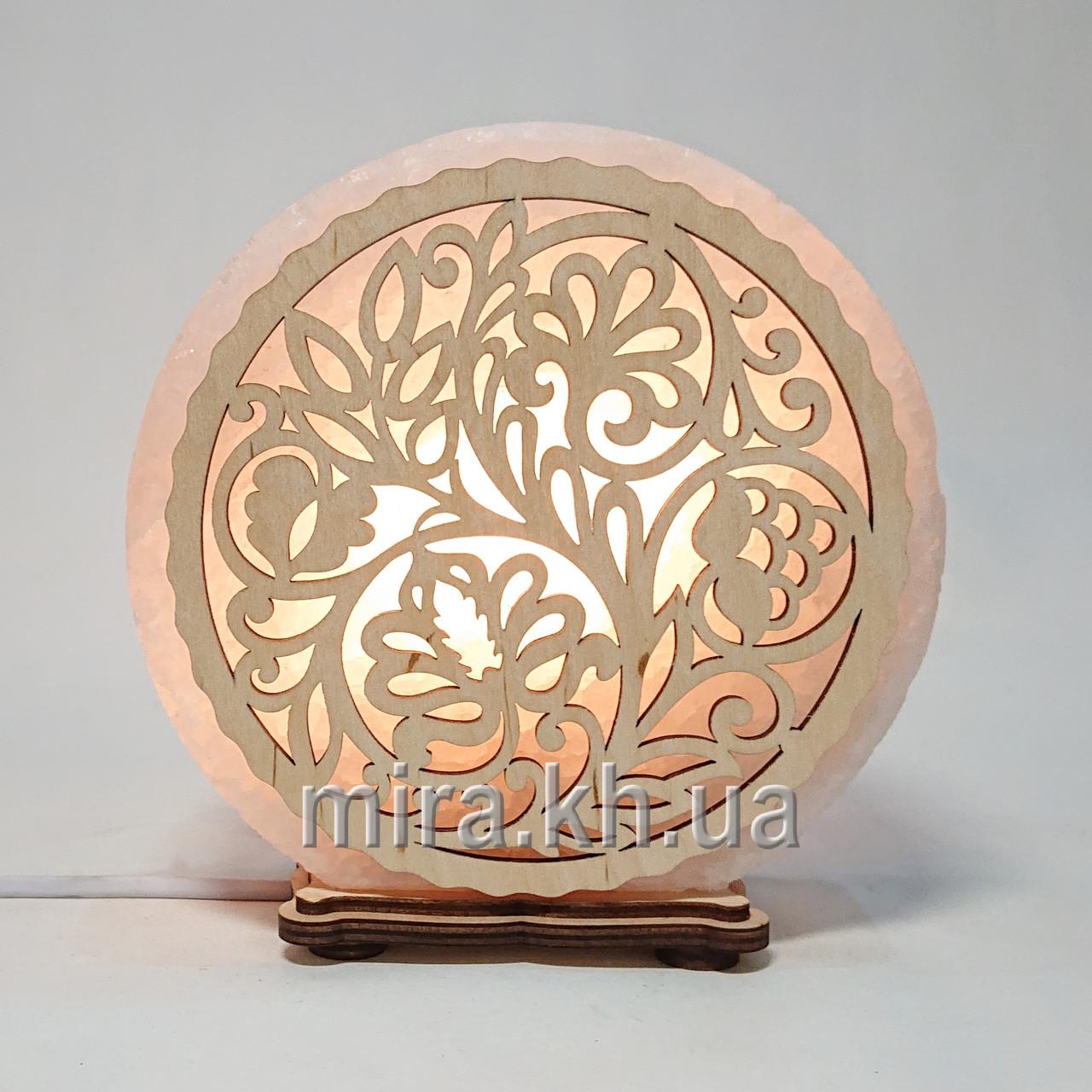 Соляной светильник круглый Узор 63