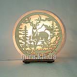Соляний світильник круглий Олень в лісі, фото 2