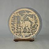 Соляний світильник круглий Олень в лісі, фото 3