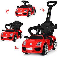 Детский электромобиль - толокар Машина 2 в 1 «Porshe» M 3592L-3 Красный