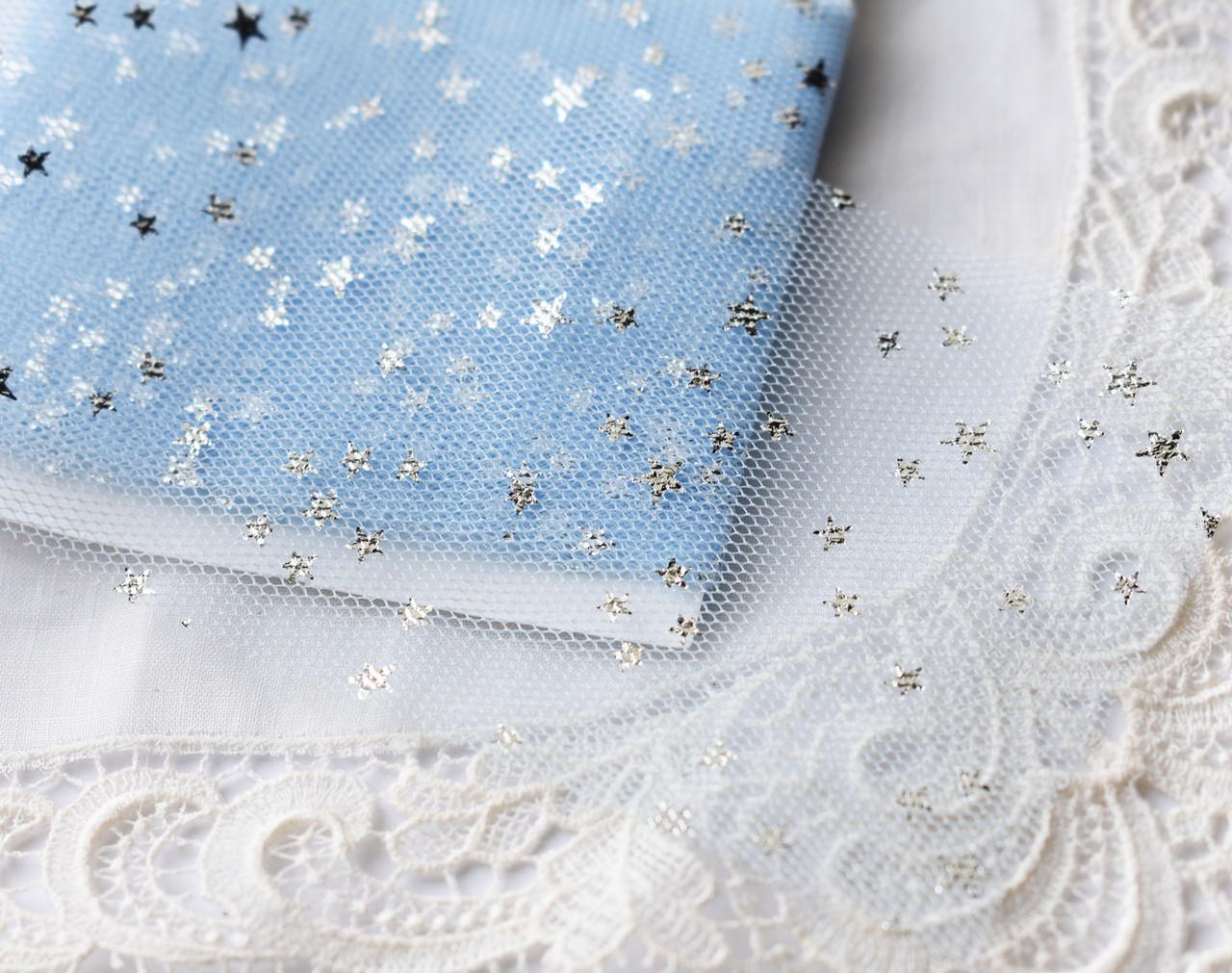 Стрічка фатиновая м'яка в зірочку, 20х5 см, блакитна \ срібло