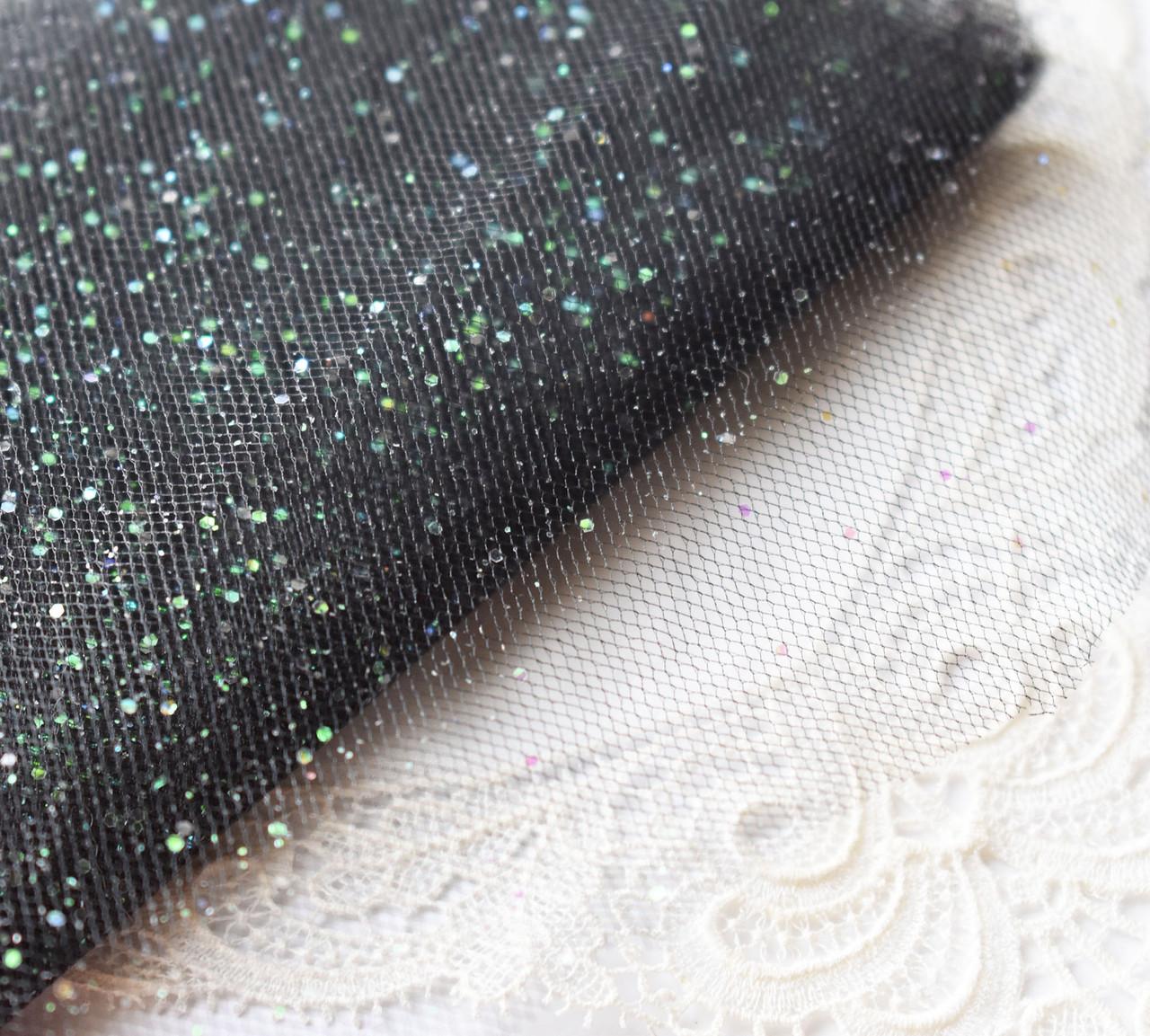 Фатин жесткий черный с блестками АВ, 15х10 см