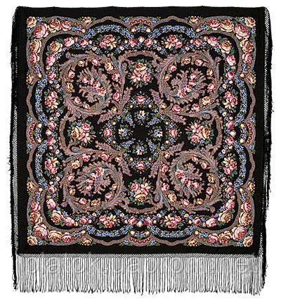 Цветы под снегом 1099-19, павлопосадский платок (шаль) из уплотненной шерсти с шелковой вязанной бахромой