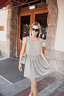 Летнее свободное летнее платье без рукава с резинкой на поясе (XS-S, М, L)