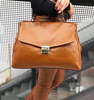 Сумка женская кожаная саквояж Италия , Итальянские кожаные сумки ярко рыжий цвет Laura Biagiotti