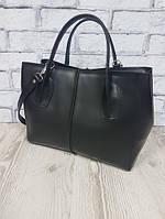 """Кожаная сумка через плечо женская черная матовая натуральная кожа, """"ФОРТА"""""""