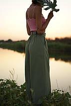 """Льняные расклешенные женские брюки """"Палаццо"""" с карманами, фото 3"""
