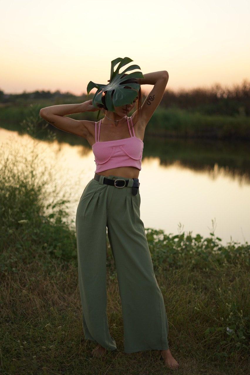 """Льняные расклешенные женские брюки """"Палаццо"""" с карманами"""