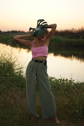 """Льняные расклешенные женские брюки """"Палаццо"""" с карманами, фото 2"""