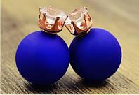 Серьги пуссеты Dior Crystal синий мат , бижутерия серьги
