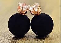 Серьги пуссеты Dior Crystal черный мат , бижутерия серьги