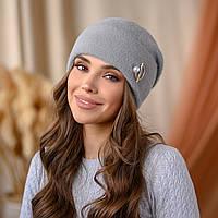 "Вязанная шапка ""Юлиана"" цвет-серый"