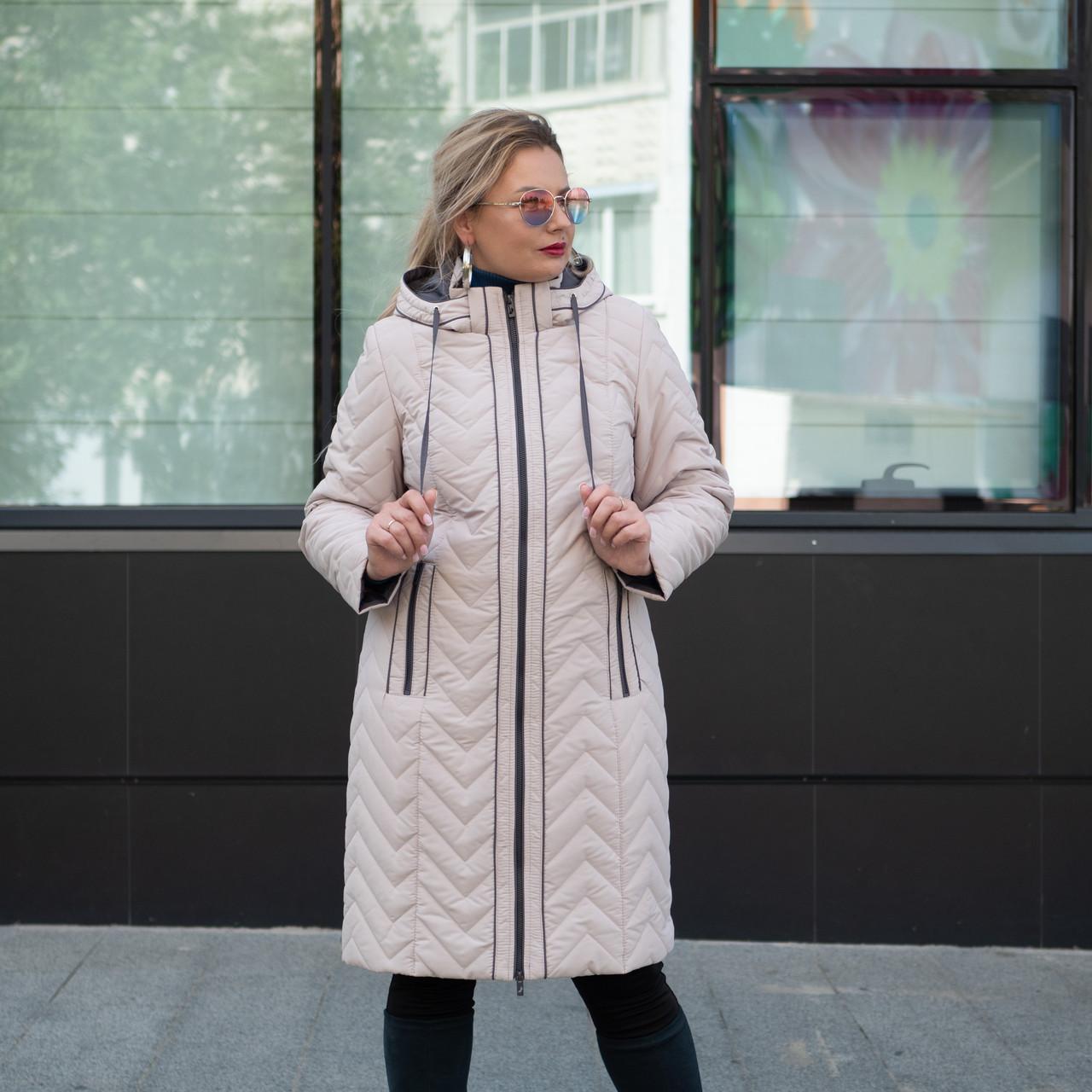 Куртка женская осень-весна больших размеров  50-58 молочный