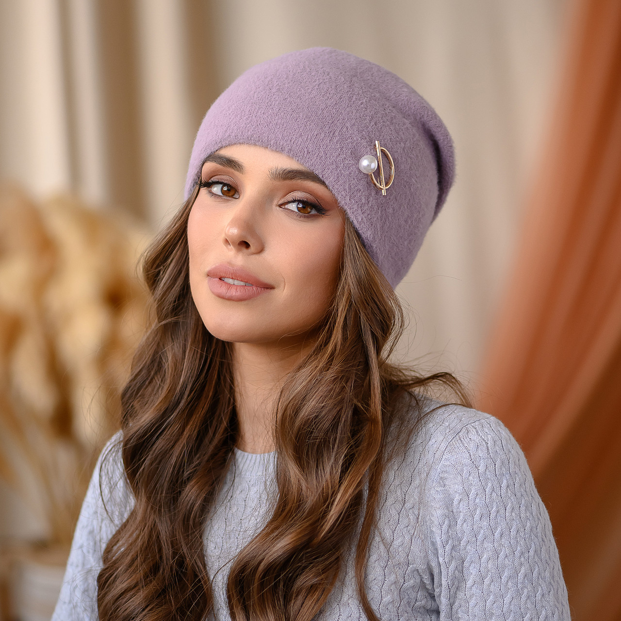 """В'язана шапка """"Юліана"""" колір-пудра"""