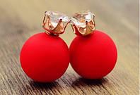 Серьги пуссеты Dior Crystal красный мат , бижутерия серьги