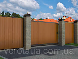Откатные ворота DoorHan с заполнением сендвич панелями с алюминиевой рамой