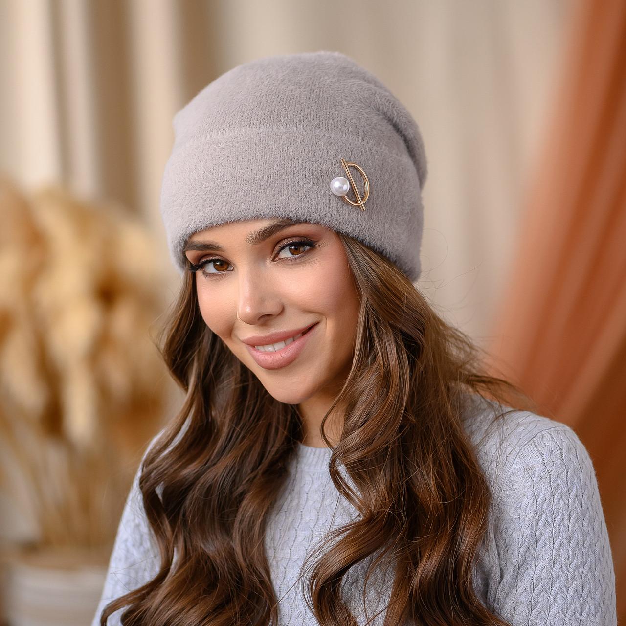 """В'язана шапка """"Юліана"""" колір-мокко"""