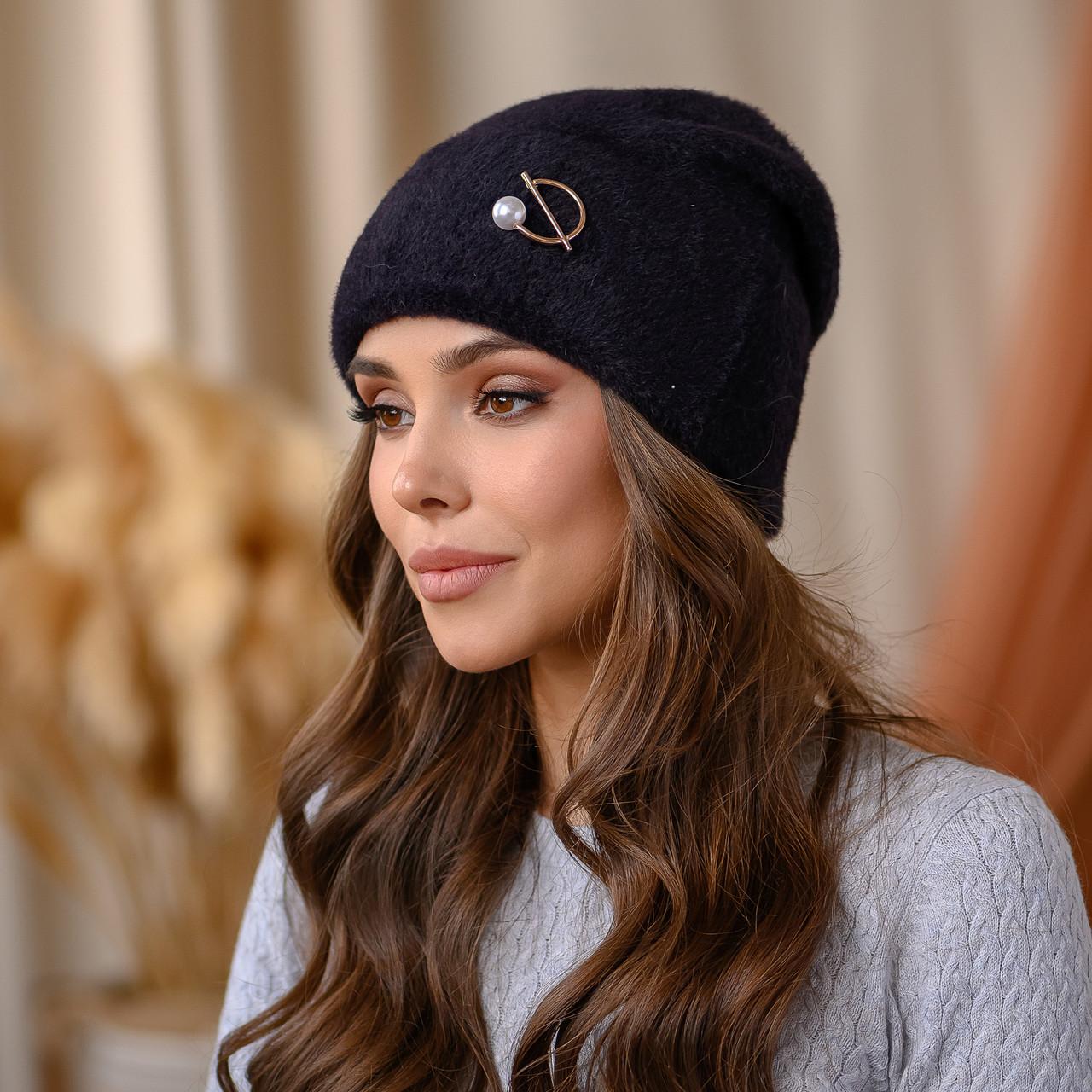"""В'язана шапка """"Юліана"""" колір-чорний"""