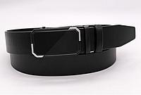 Кожаный мужской ремень (автоматический черный под джинсы,брюки) классика 35 мм
