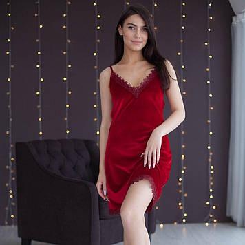 Жіноча сорочка для сну, комбінація з оксамиту з мереживом червоний