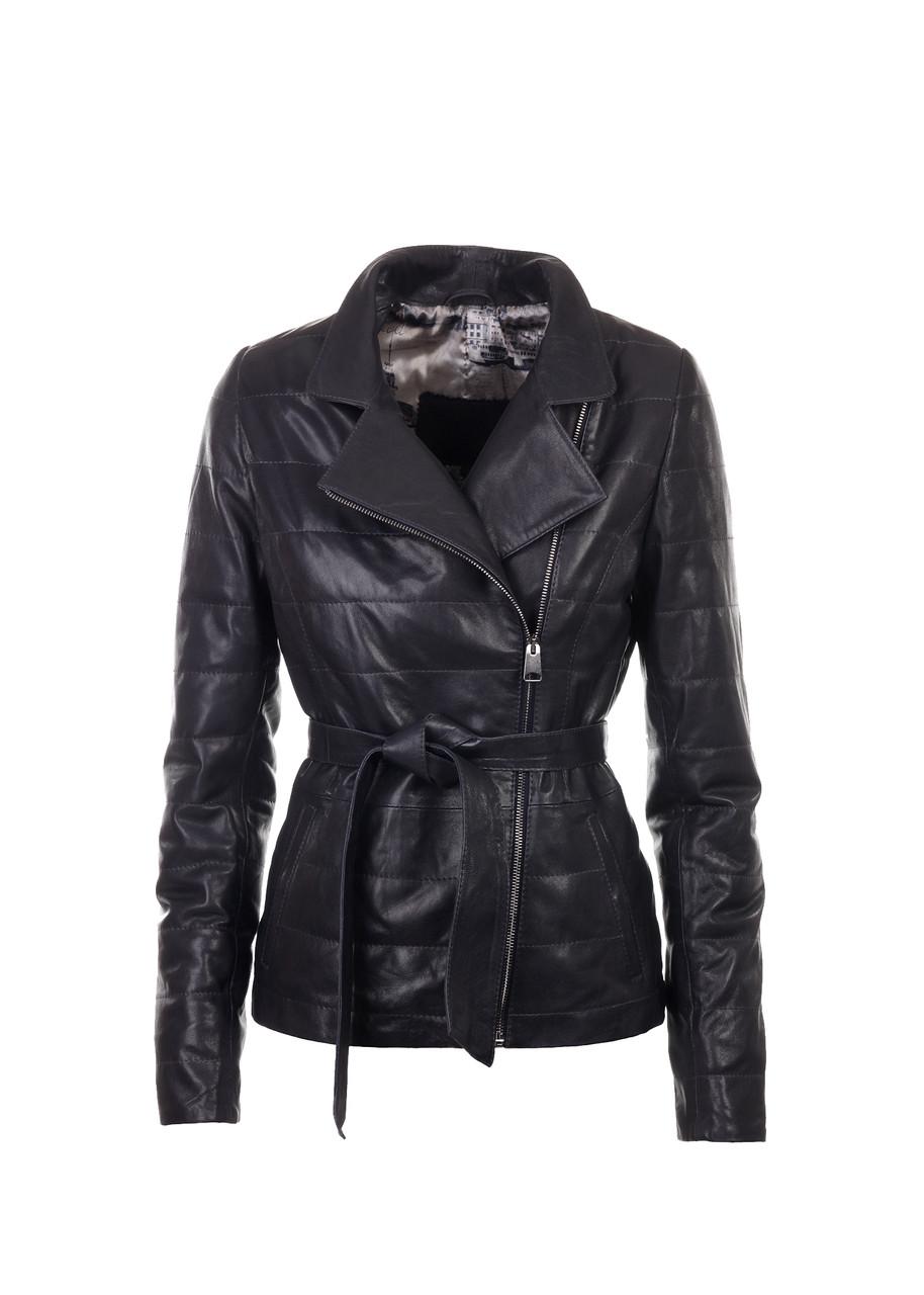 Кожаная куртка VK черная стеганая под пояс (Арт. LAN2-201)