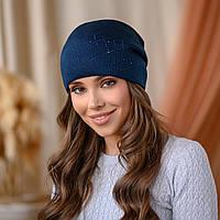 """Вязанная шапка """"Янина"""" цвет-синий"""