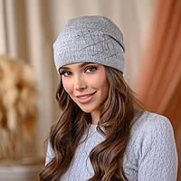 """Вязанная шапка """"Янина"""" цвет-серый"""