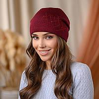 "В'язана шапка ""Яніна"" колір-темна вишня"