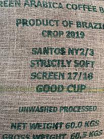 Кофе в зернах. Зеленый. Арабика Бразилия Сантос - мешок 60 кг