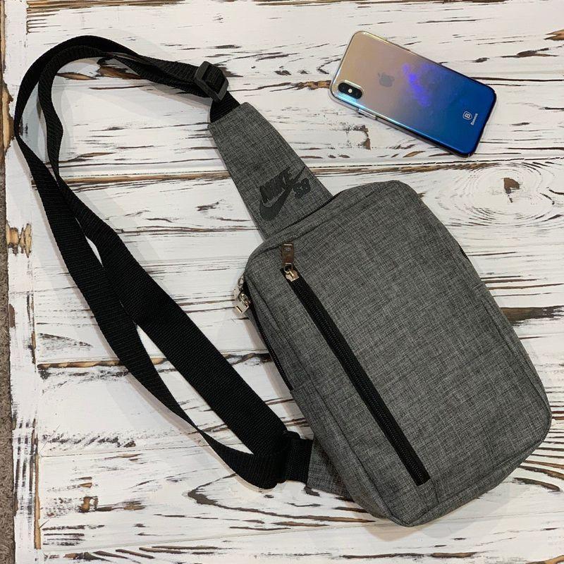 Чоловіча сумка-слінг через плече кольору темно-сірий меланж