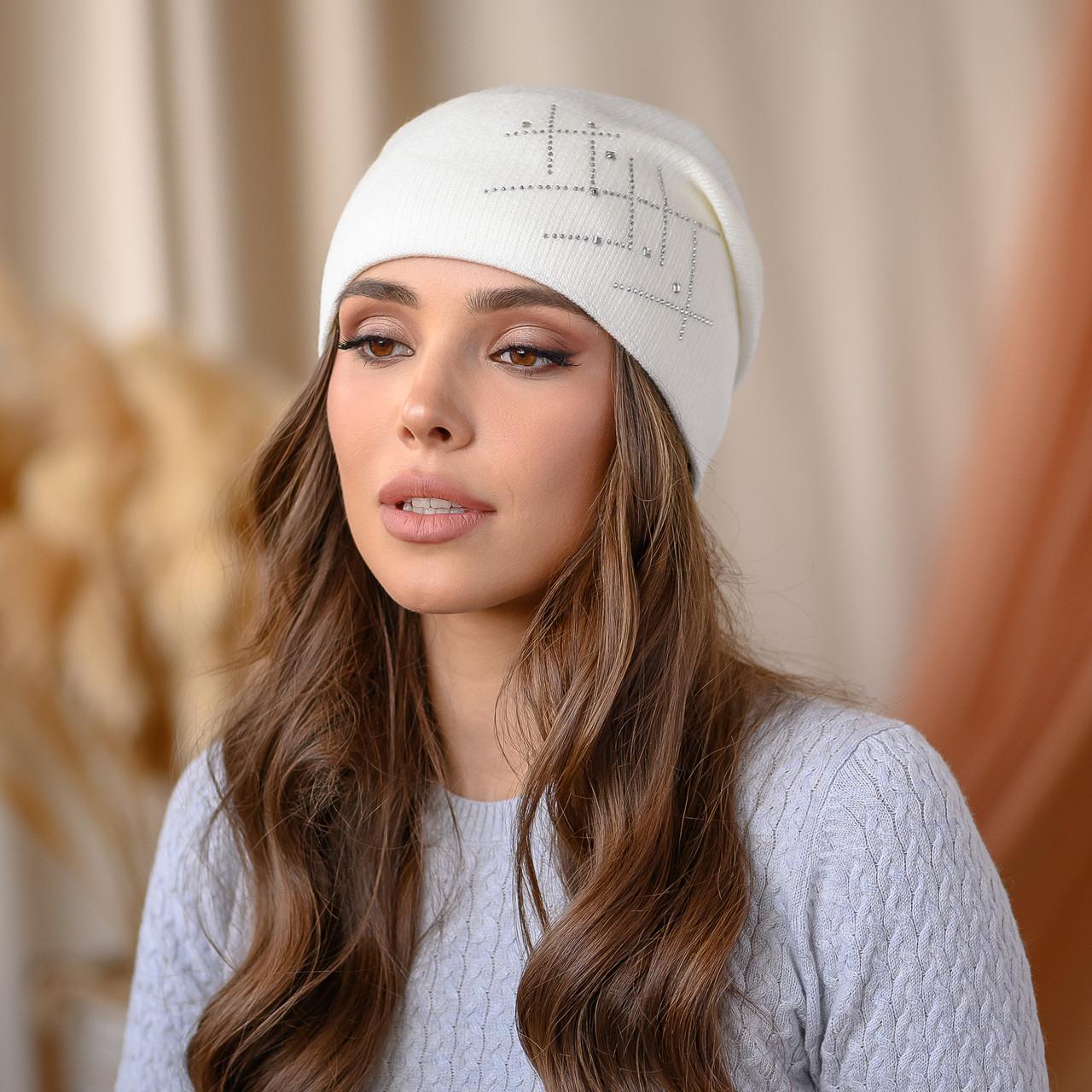 """Вязанная шапка """"Янина"""" цвет-белый"""