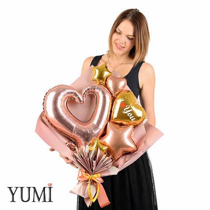 Букет с сердцем вензель розовое золото, золотым сердцем I love you, звездой розовое золото, фото 2