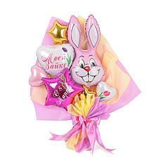 """Букет с розовым зайчиком, белым сердцем с надписью """"Моей зайке"""", звездой фуксия """"С 8 марта"""""""