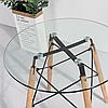 Стол Имз, стеклянный, дерево, диаметр 80 см, фото 2