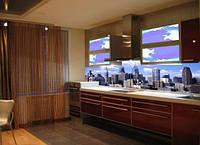 Фартук кухонный из стекла и фотопечатью и подсветкой рисунок Город