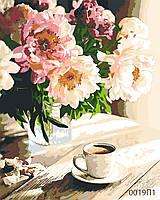Картина по номерам Букет пионов и кофе, цветной холст, 40*50 см, без коробки Barvi